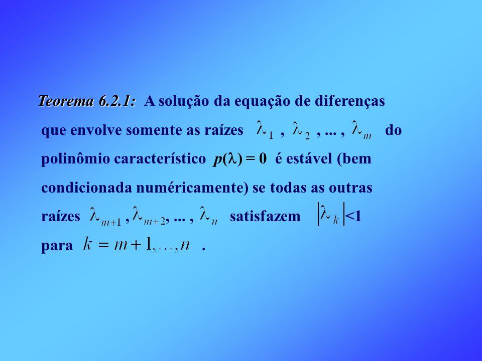 Teorema 6.2.1: A solução da equação de diferenças