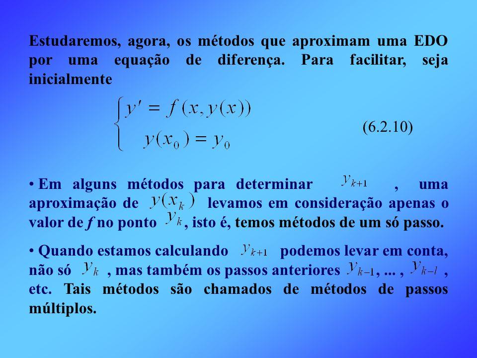 Estudaremos, agora, os métodos que aproximam uma EDO por uma equação de diferença. Para facilitar, seja inicialmente