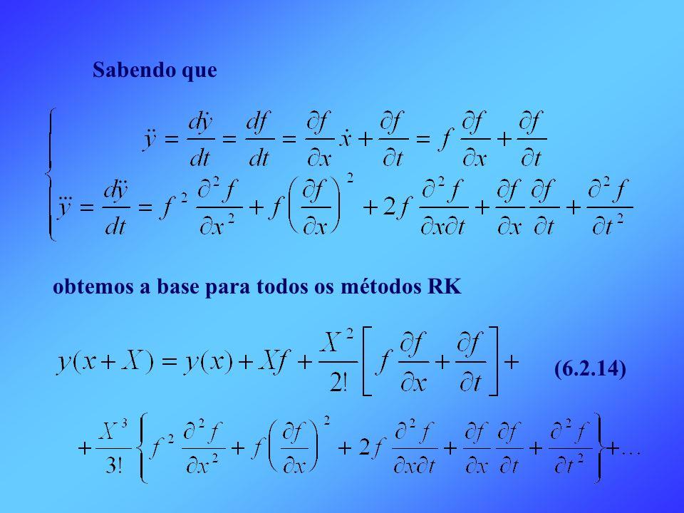 Sabendo que obtemos a base para todos os métodos RK (6.2.14)