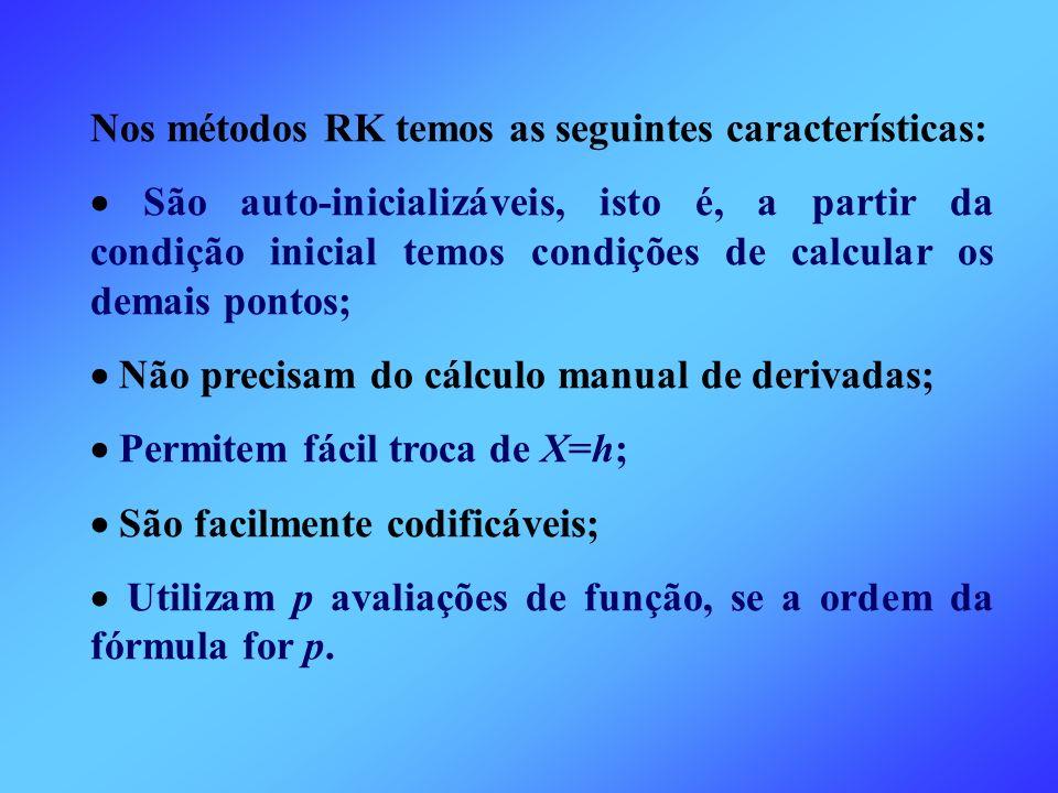 Nos métodos RK temos as seguintes características: