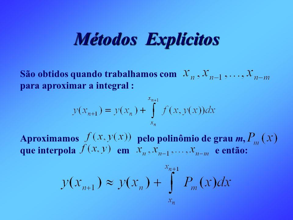 Métodos Explícitos São obtidos quando trabalhamos com para aproximar a integral :
