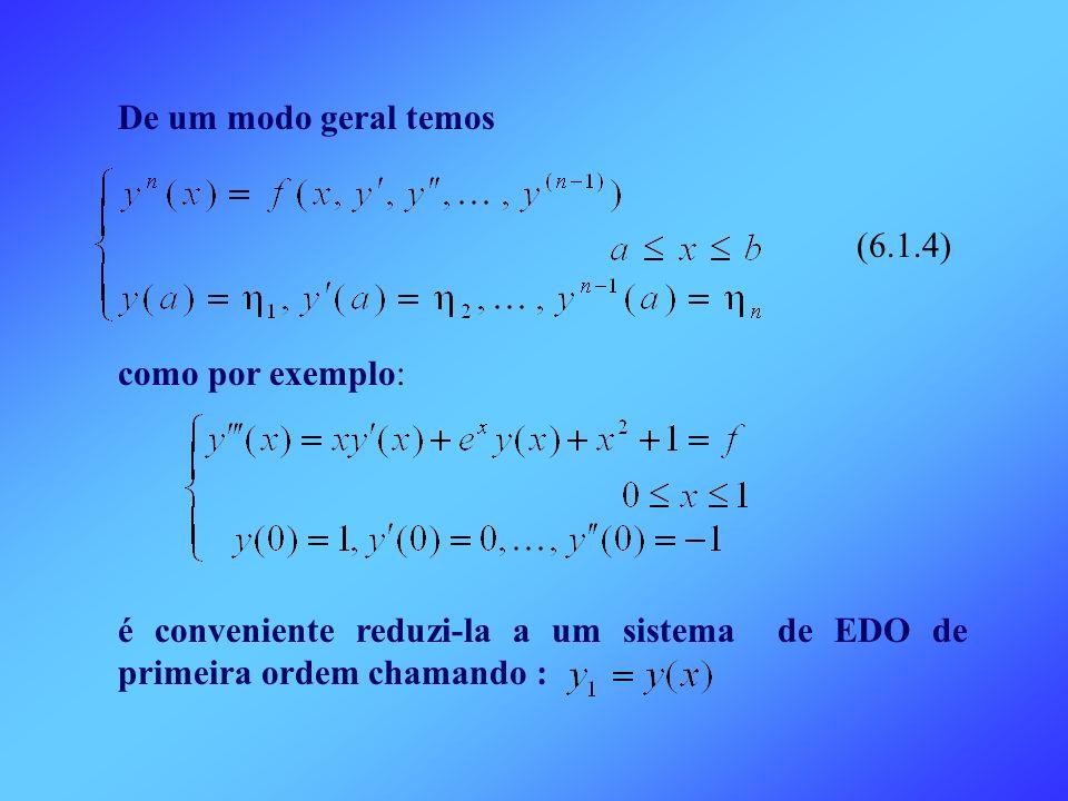 De um modo geral temos (6.1.4) como por exemplo: é conveniente reduzi-la a um sistema de EDO de primeira ordem chamando :