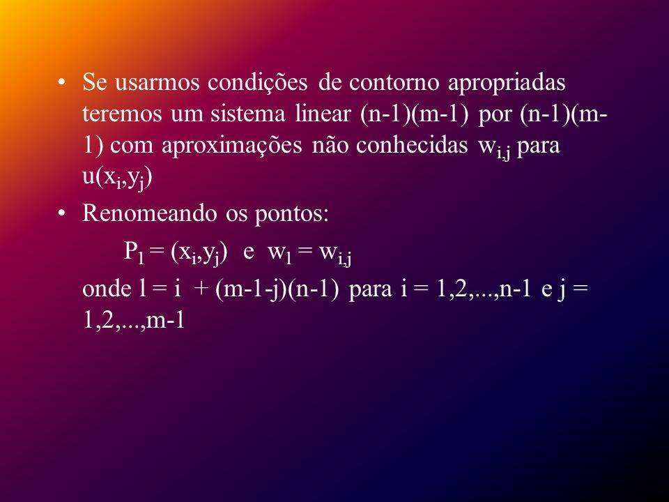 Se usarmos condições de contorno apropriadas teremos um sistema linear (n-1)(m-1) por (n-1)(m-1) com aproximações não conhecidas wi,j para u(xi,yj)