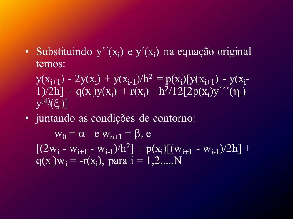 Substituindo y´´(xi) e y´(xi) na equação original temos: