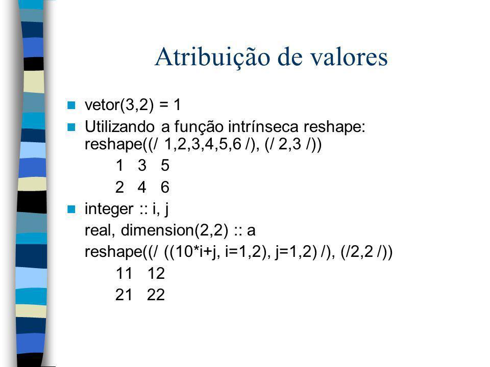 Atribuição de valores vetor(3,2) = 1