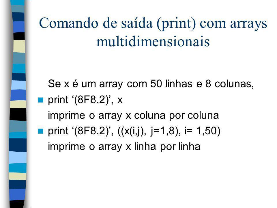 Comando de saída (print) com arrays multidimensionais