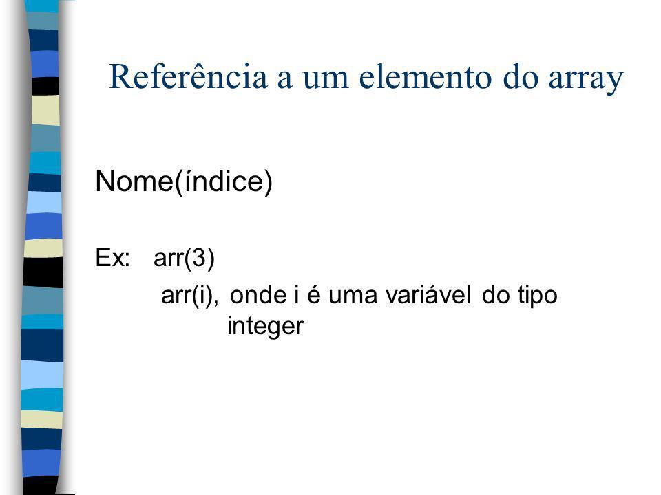 Referência a um elemento do array