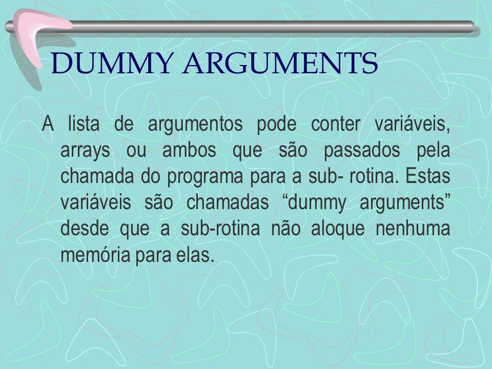 DUMMY ARGUMENTS