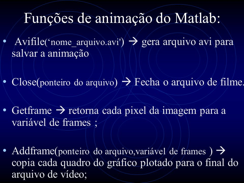 Funções de animação do Matlab: