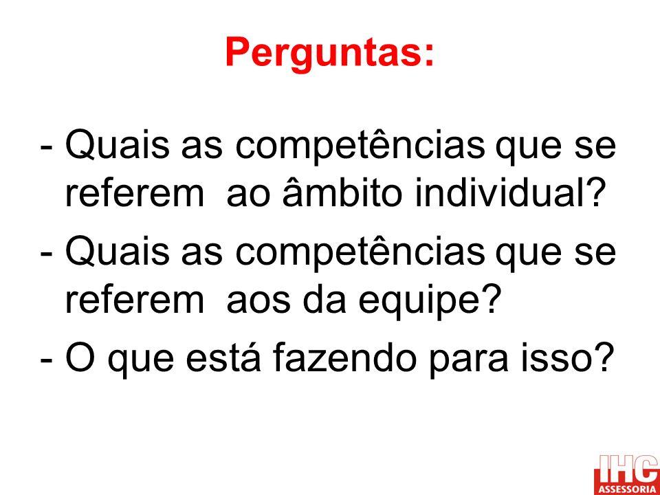Perguntas: - Quais as competências que se referem ao âmbito individual - Quais as competências que se referem aos da equipe