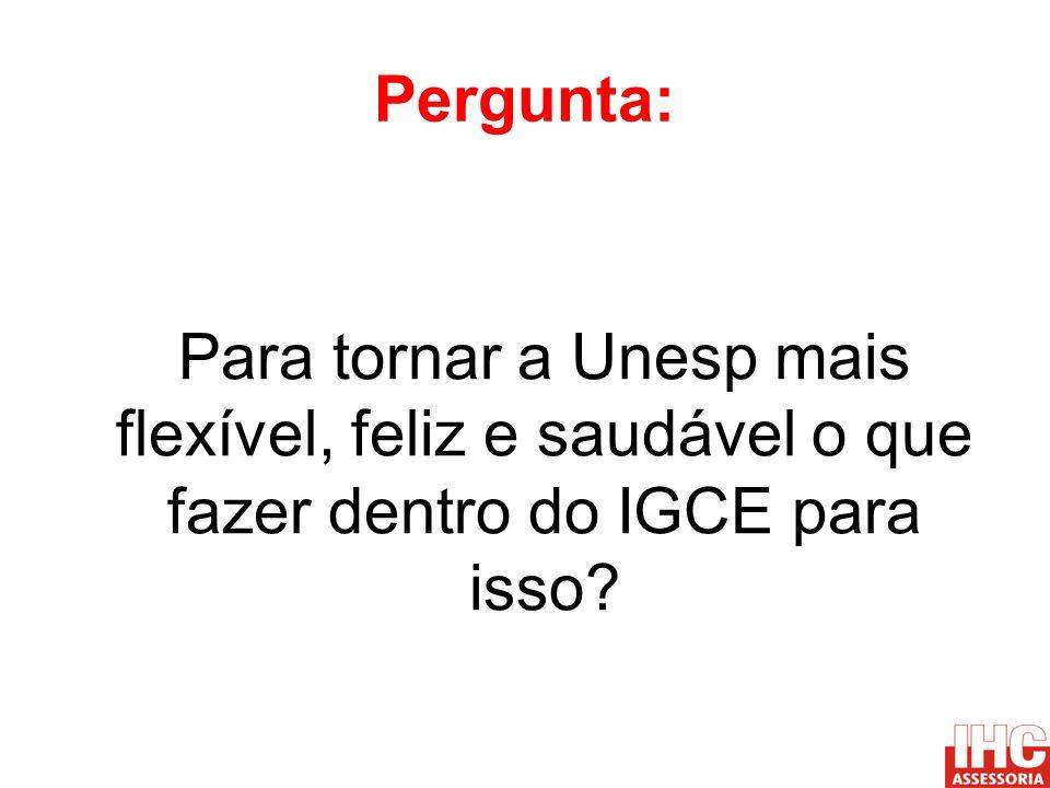 Pergunta: Para tornar a Unesp mais flexível, feliz e saudável o que fazer dentro do IGCE para isso