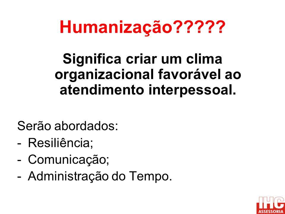 Humanização Significa criar um clima organizacional favorável ao atendimento interpessoal. Serão abordados: