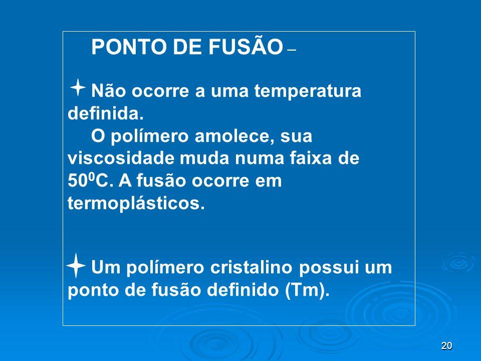 PONTO DE FUSÃO – Não ocorre a uma temperatura definida.