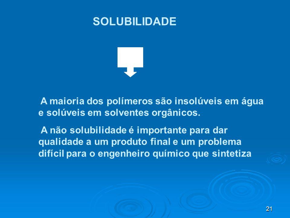 SOLUBILIDADE A maioria dos polímeros são insolúveis em água e solúveis em solventes orgânicos.