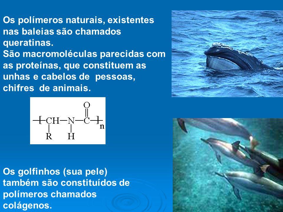 Os polímeros naturais, existentes nas baleias são chamados queratinas.