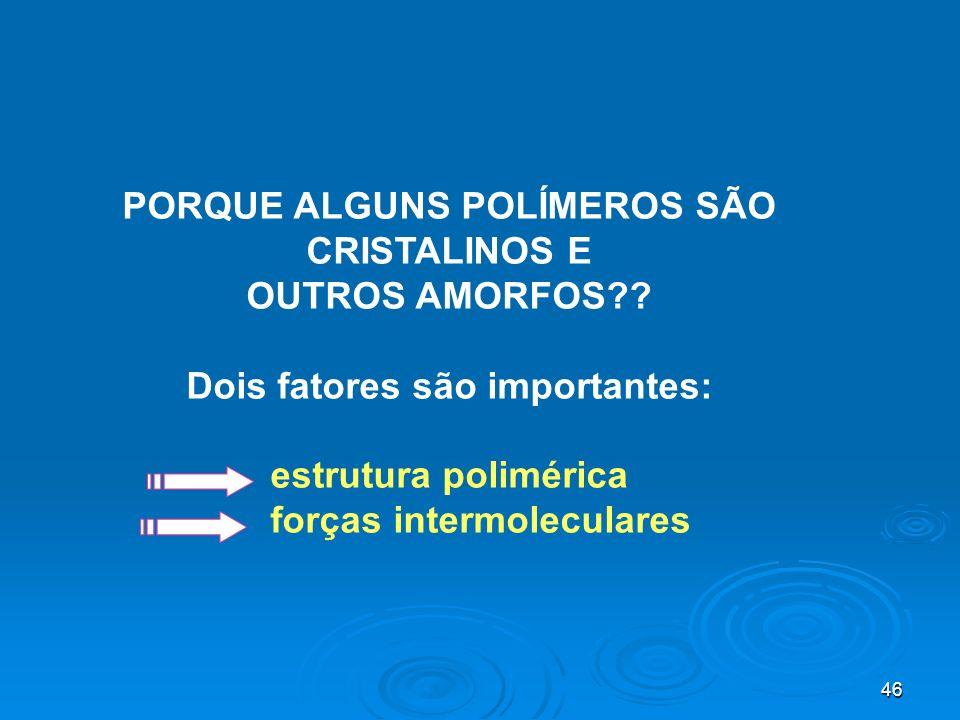 PORQUE ALGUNS POLÍMEROS SÃO CRISTALINOS E OUTROS AMORFOS