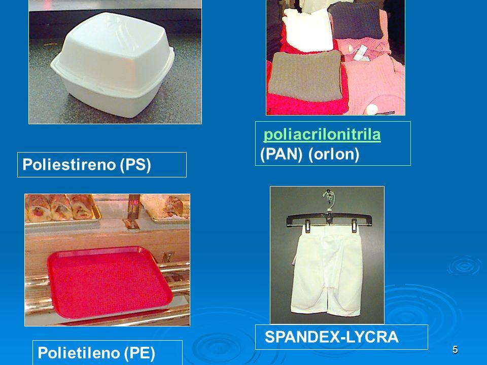 Poliestireno (PS) SPANDEX-LYCRA Polietileno (PE)
