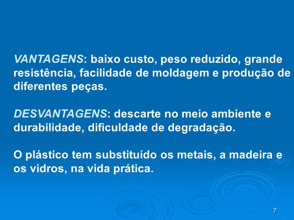 VANTAGENS: baixo custo, peso reduzido, grande resistência, facilidade de moldagem e produção de diferentes peças.