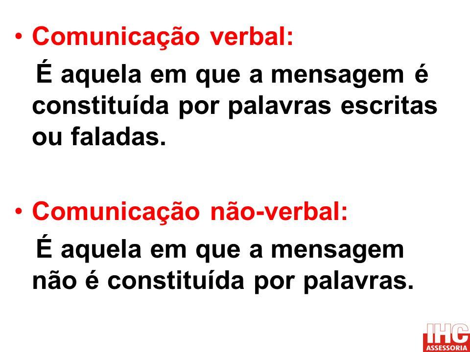 Comunicação verbal:É aquela em que a mensagem é constituída por palavras escritas ou faladas. Comunicação não-verbal:
