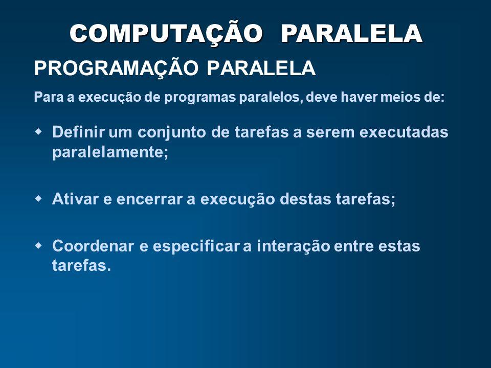 PROGRAMAÇÃO PARALELA Para a execução de programas paralelos, deve haver meios de: Definir um conjunto de tarefas a serem executadas paralelamente;