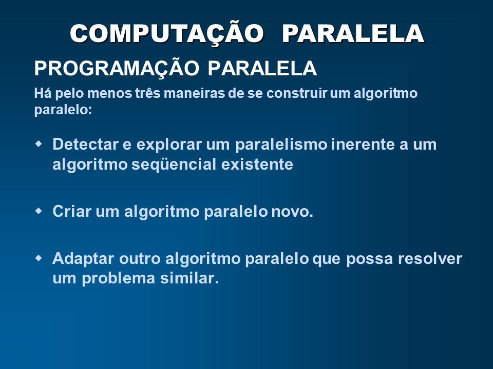 PROGRAMAÇÃO PARALELA Há pelo menos três maneiras de se construir um algoritmo paralelo:
