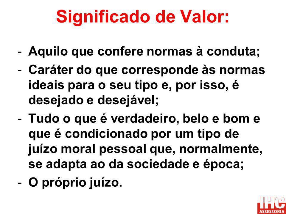 Significado de Valor: Aquilo que confere normas à conduta;