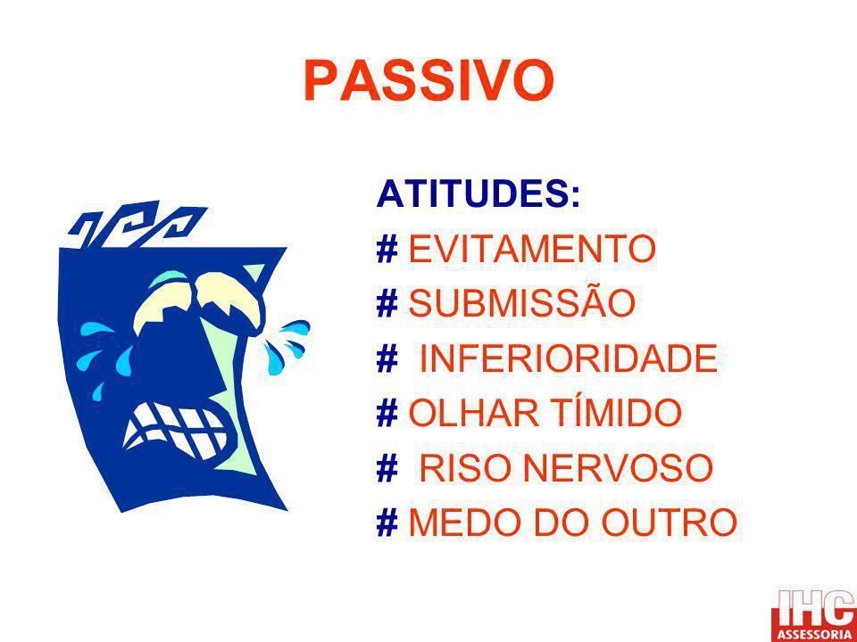 PASSIVO ATITUDES: # EVITAMENTO # SUBMISSÃO # INFERIORIDADE