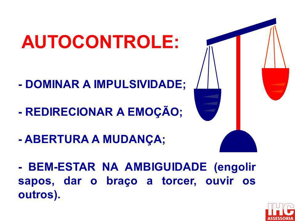 AUTOCONTROLE: - DOMINAR A IMPULSIVIDADE; - REDIRECIONAR A EMOÇÃO;