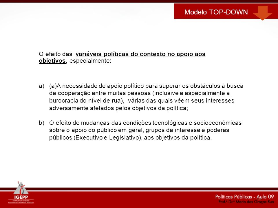 Modelo TOP-DOWNO efeito das variáveis políticas do contexto no apoio aos objetivos, especialmente: