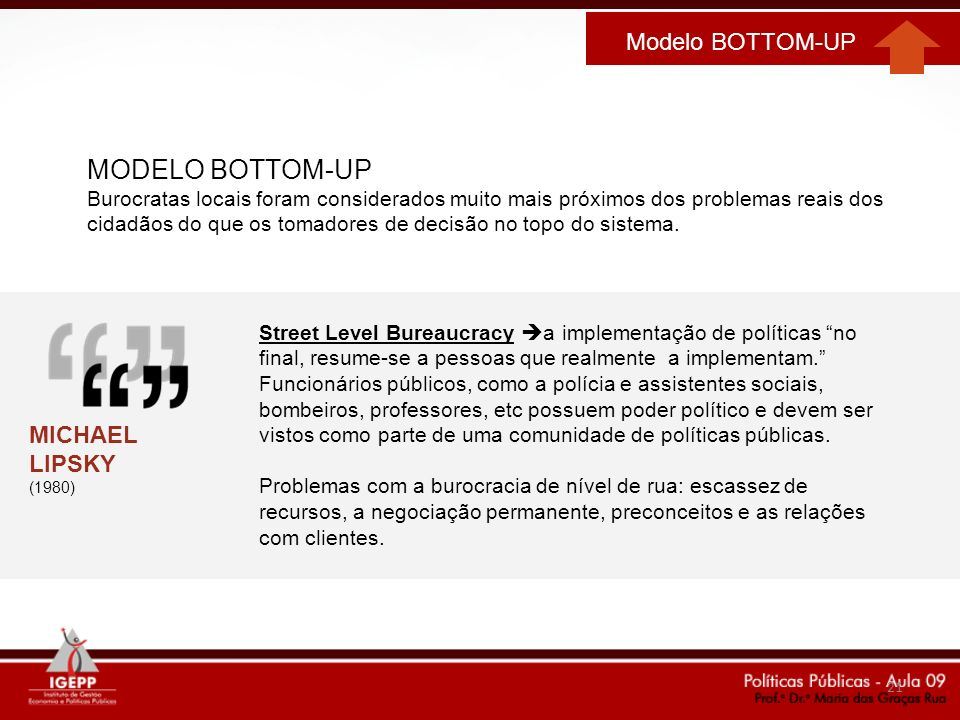 MODELO BOTTOM-UP Modelo BOTTOM-UP MICHAEL LIPSKY