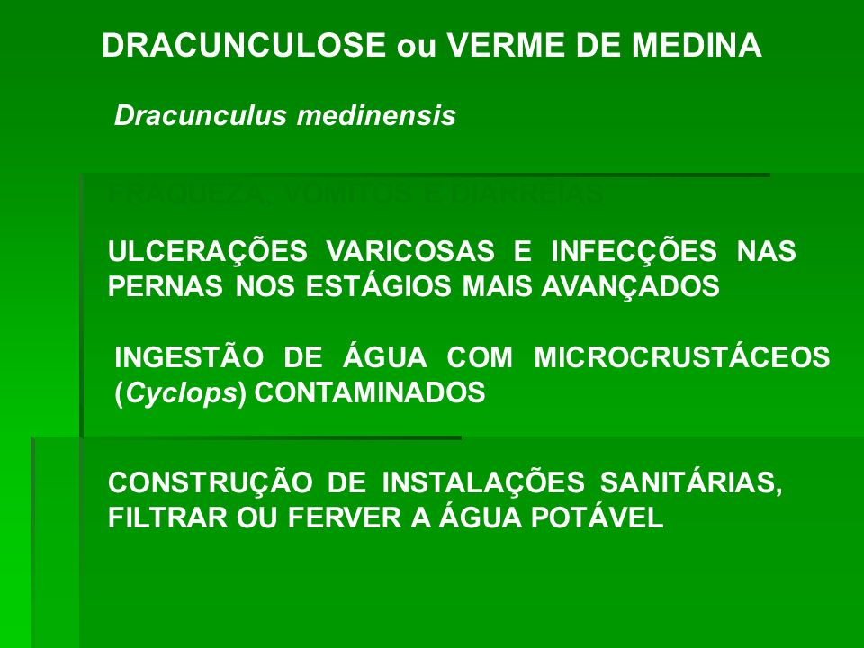 DRACUNCULOSE ou VERME DE MEDINA Dracunculus medinensis