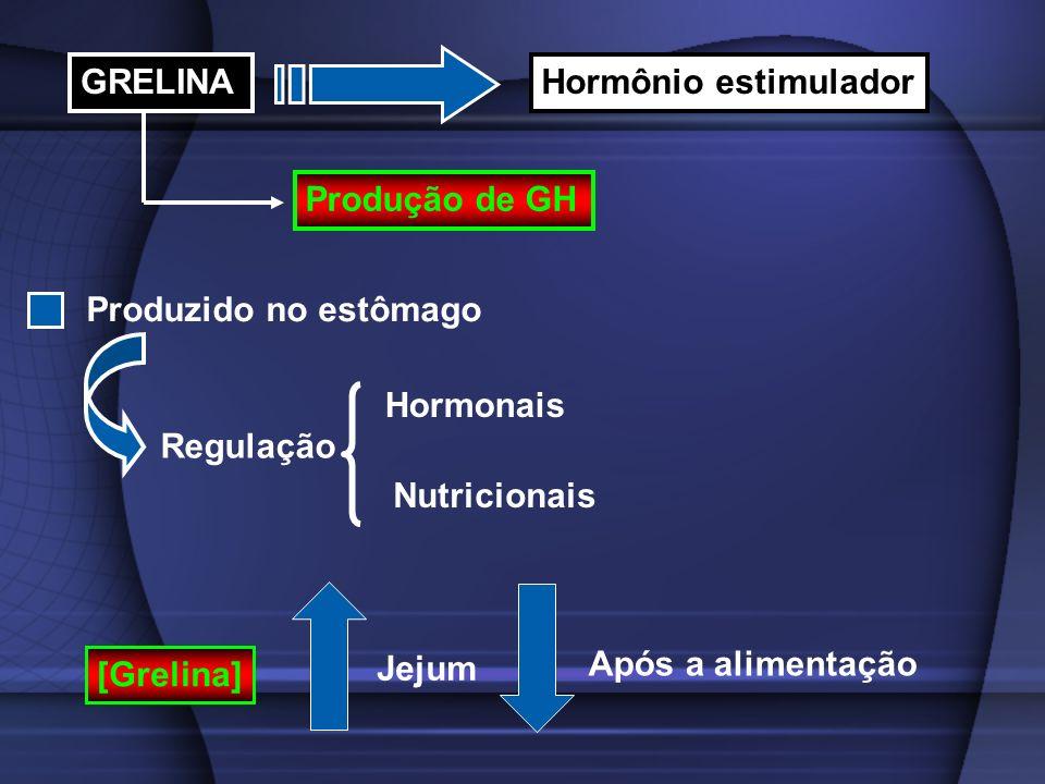 GRELINA Hormônio estimulador. Produção de GH. Produzido no estômago. Hormonais. Regulação. Nutricionais.
