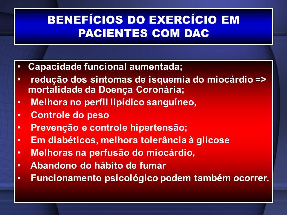 BENEFÍCIOS DO EXERCÍCIO EM PACIENTES COM DAC