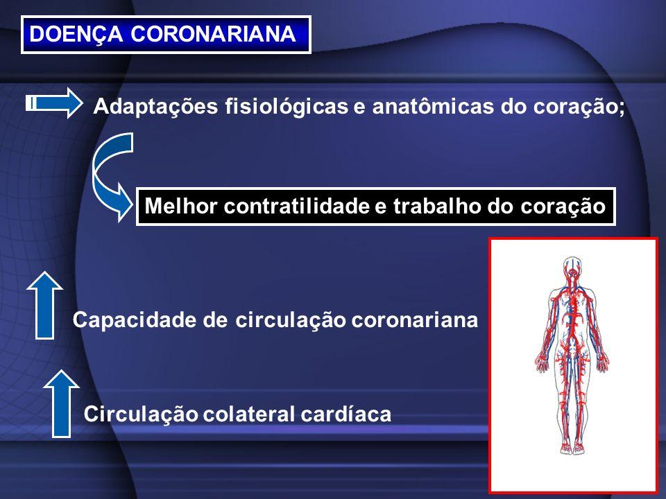 DOENÇA CORONARIANA Adaptações fisiológicas e anatômicas do coração; Melhor contratilidade e trabalho do coração.