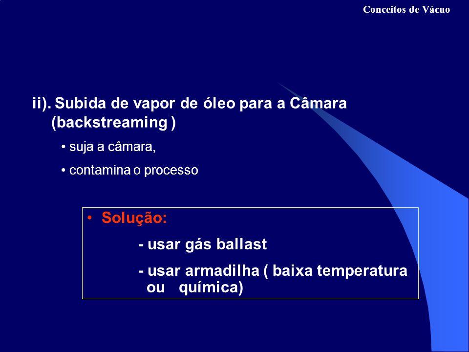 ii). Subida de vapor de óleo para a Câmara (backstreaming )