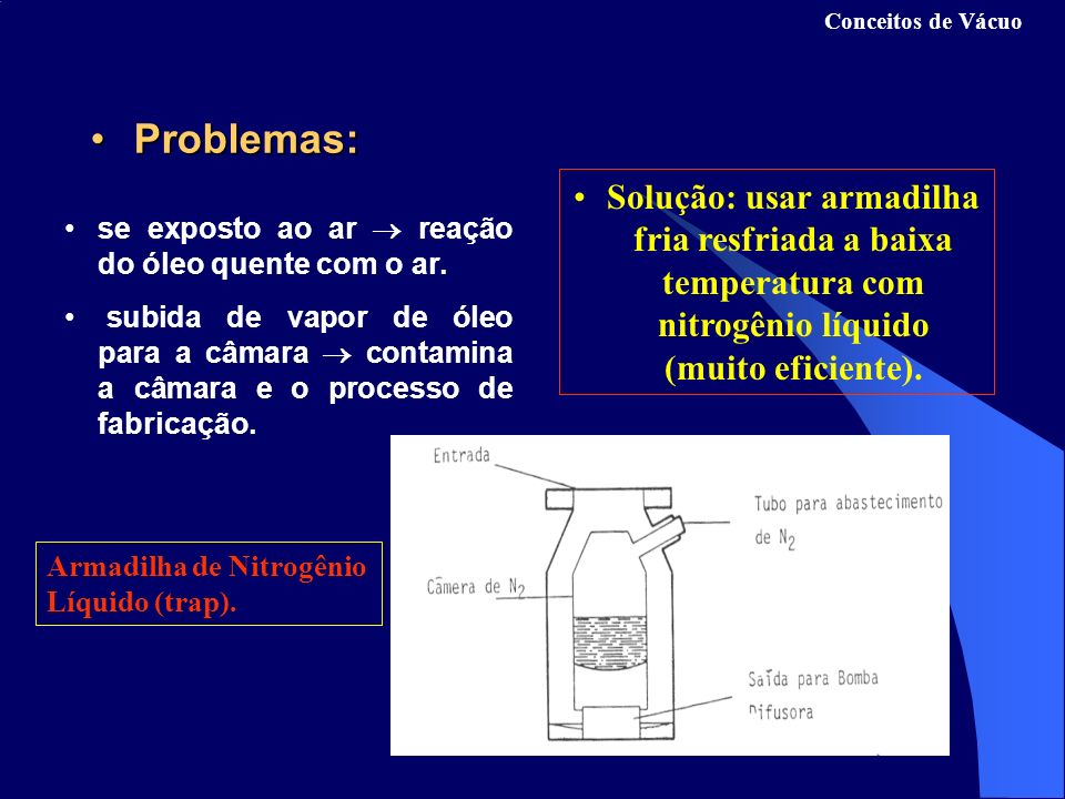 Conceitos de Vácuo Problemas: Solução: usar armadilha fria resfriada a baixa temperatura com nitrogênio líquido (muito eficiente).