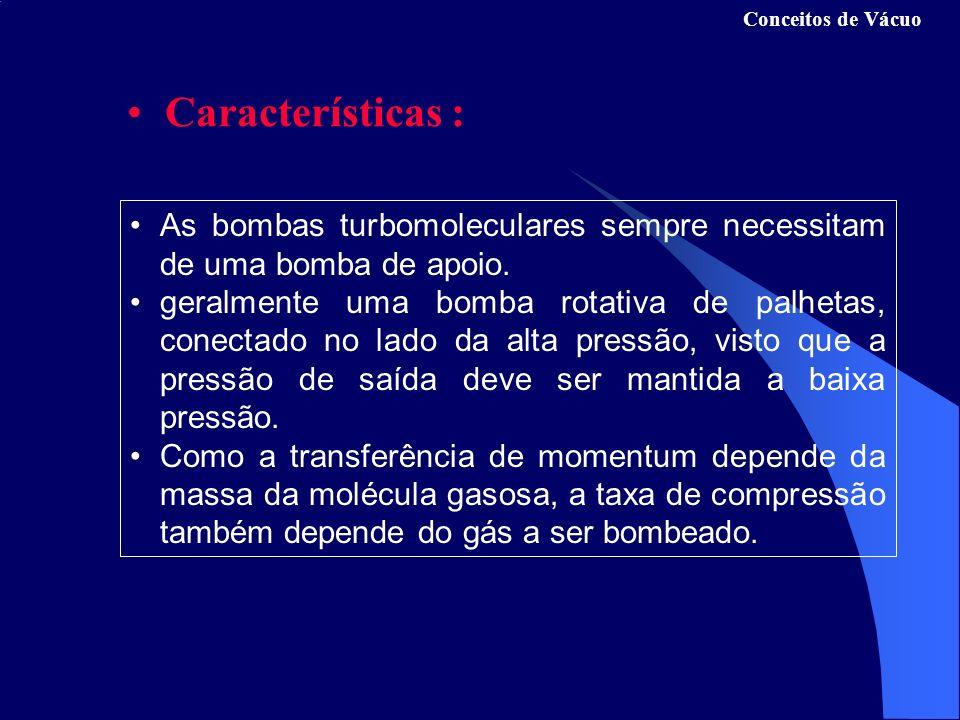 Conceitos de Vácuo Características : As bombas turbomoleculares sempre necessitam de uma bomba de apoio.