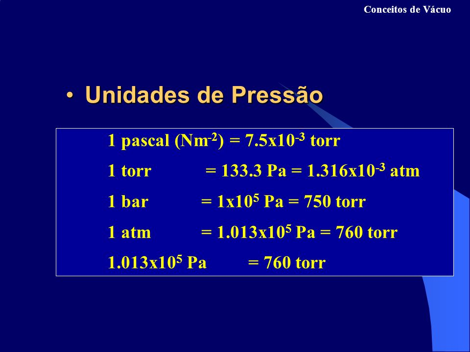 Unidades de Pressão 1 torr = 133.3 Pa = 1.316x10-3 atm