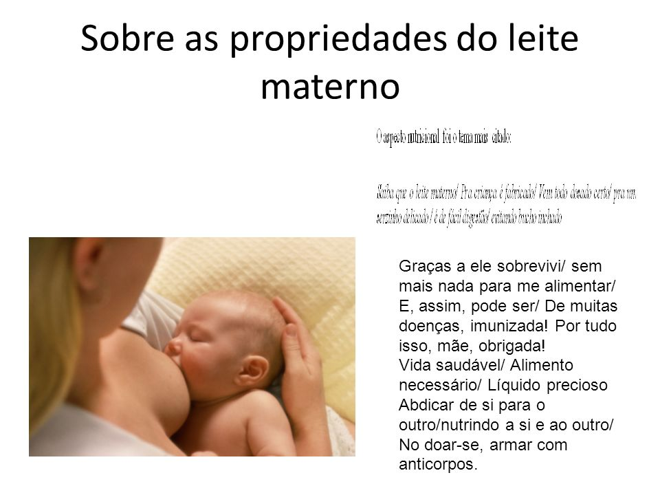 Sobre as propriedades do leite materno