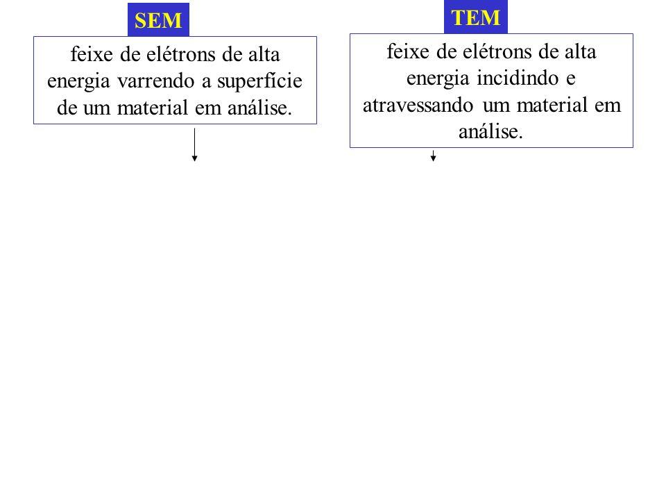 SEM TEM. feixe de elétrons de alta energia varrendo a superfície de um material em análise.