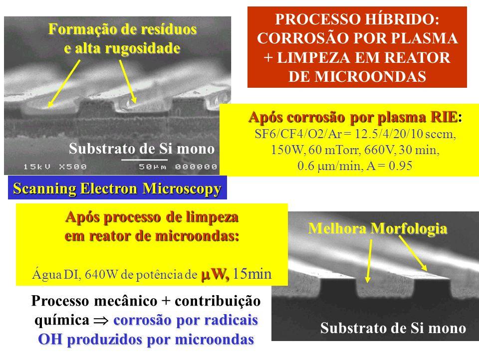 CORROSÃO POR PLASMA + LIMPEZA EM REATOR DE MICROONDAS