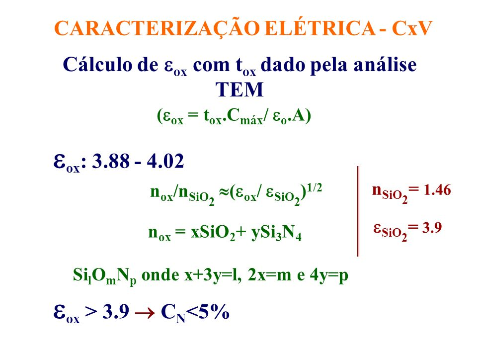 ox: 3.88 - 4.02 ox > 3.9  CN<5%