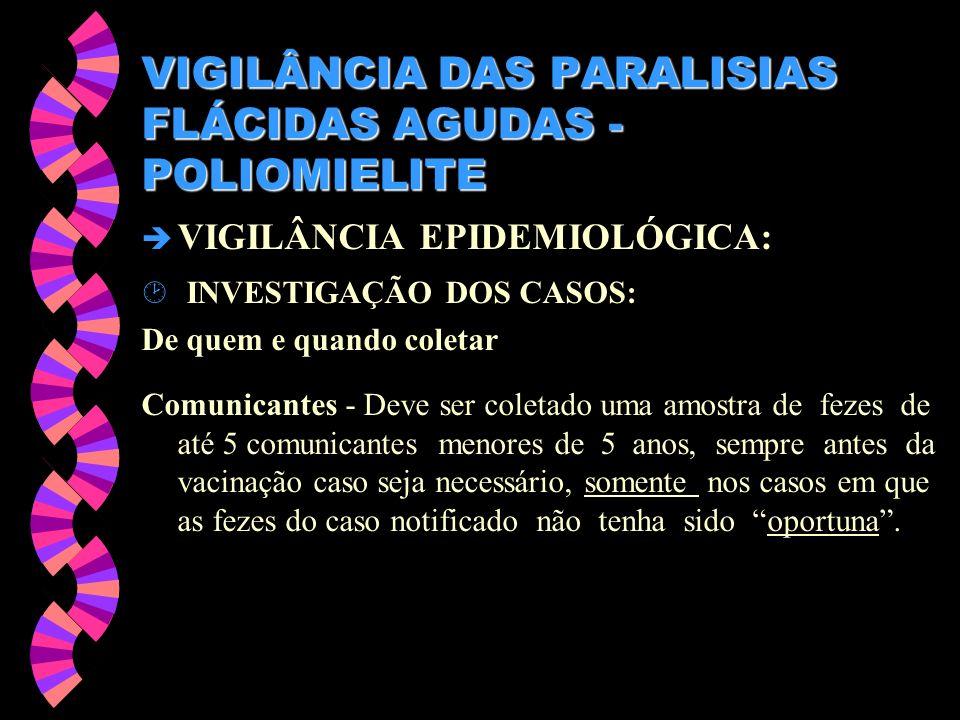 VIGILÂNCIA DAS PARALISIAS FLÁCIDAS AGUDAS - POLIOMIELITE