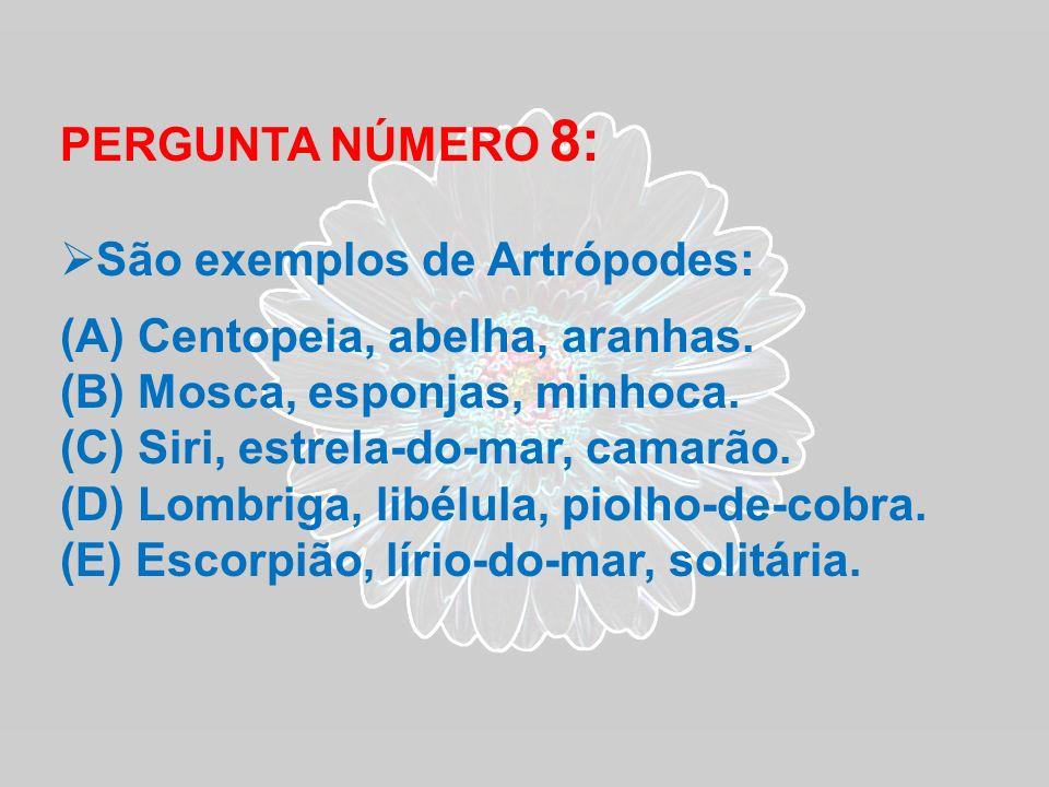 PERGUNTA NÚMERO 8: São exemplos de Artrópodes: Centopeia, abelha, aranhas. Mosca, esponjas, minhoca.