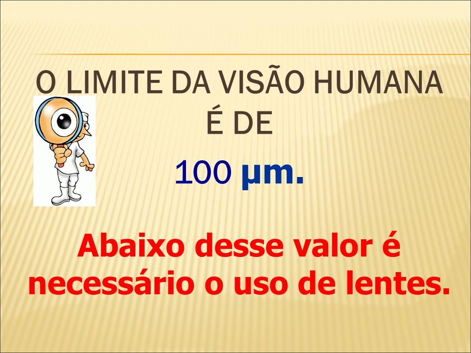 O LIMITE DA VISÃO HUMANA É DE 100 μm.