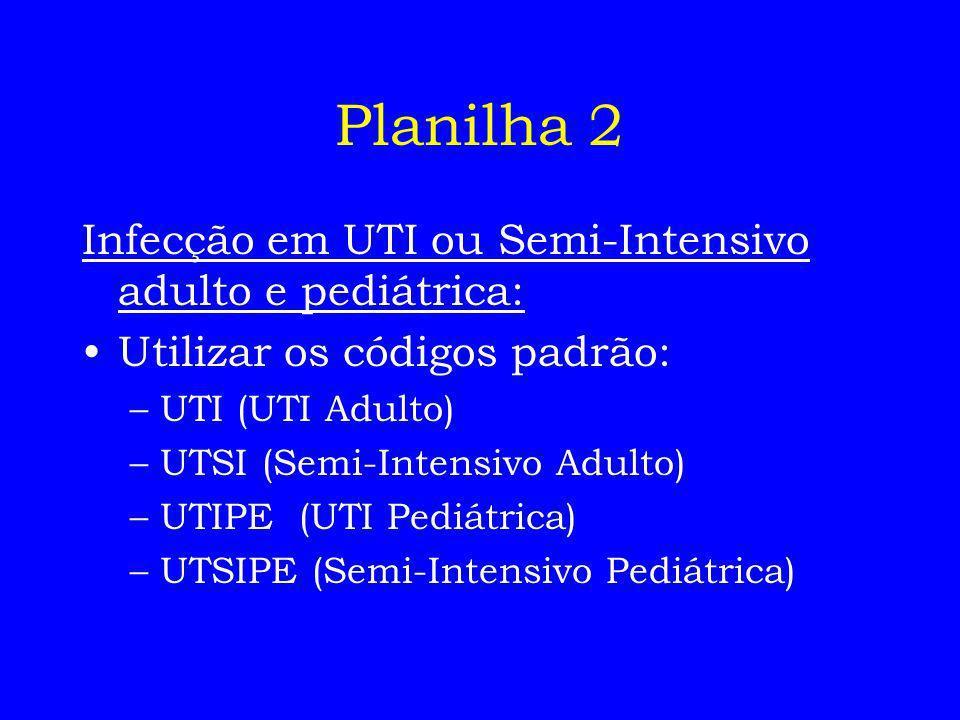 Planilha 2 Infecção em UTI ou Semi-Intensivo adulto e pediátrica: