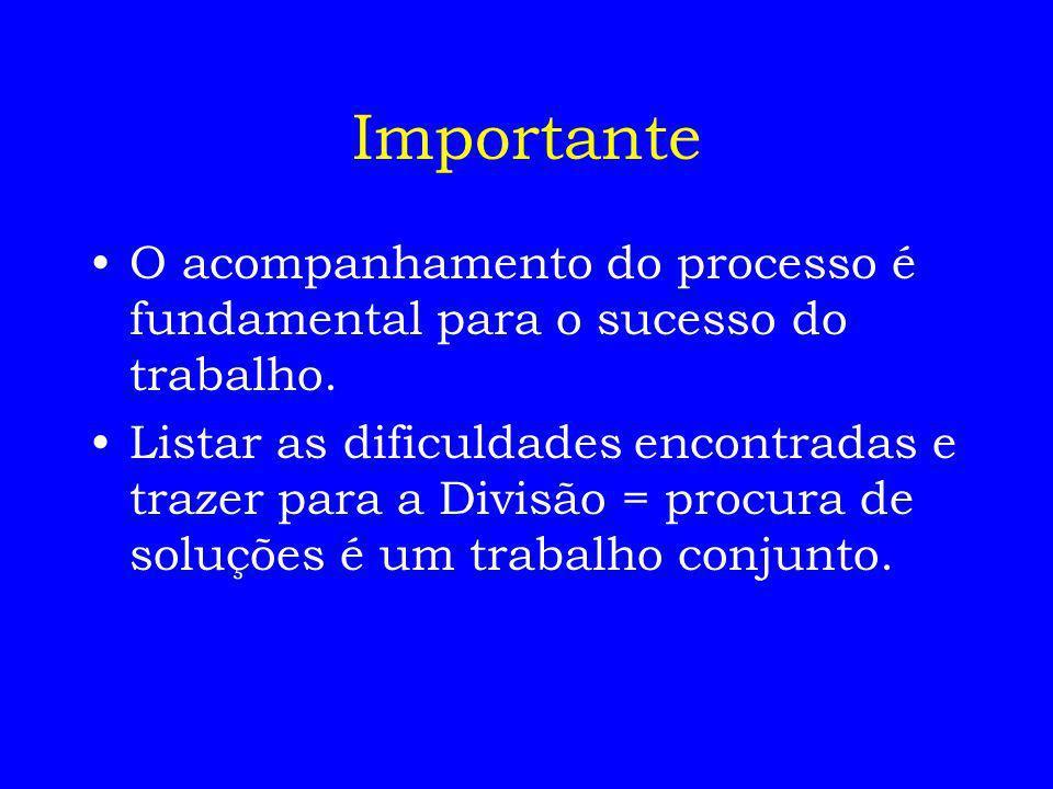 Importante O acompanhamento do processo é fundamental para o sucesso do trabalho.