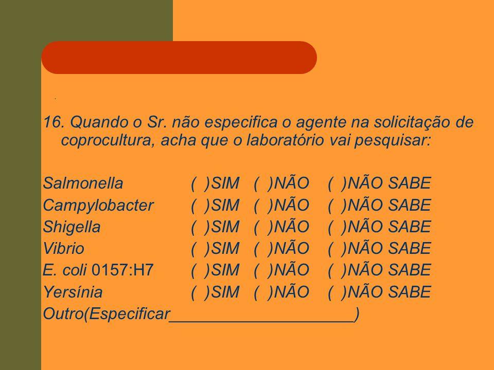 Salmonella ( )SIM ( )NÃO ( )NÃO SABE