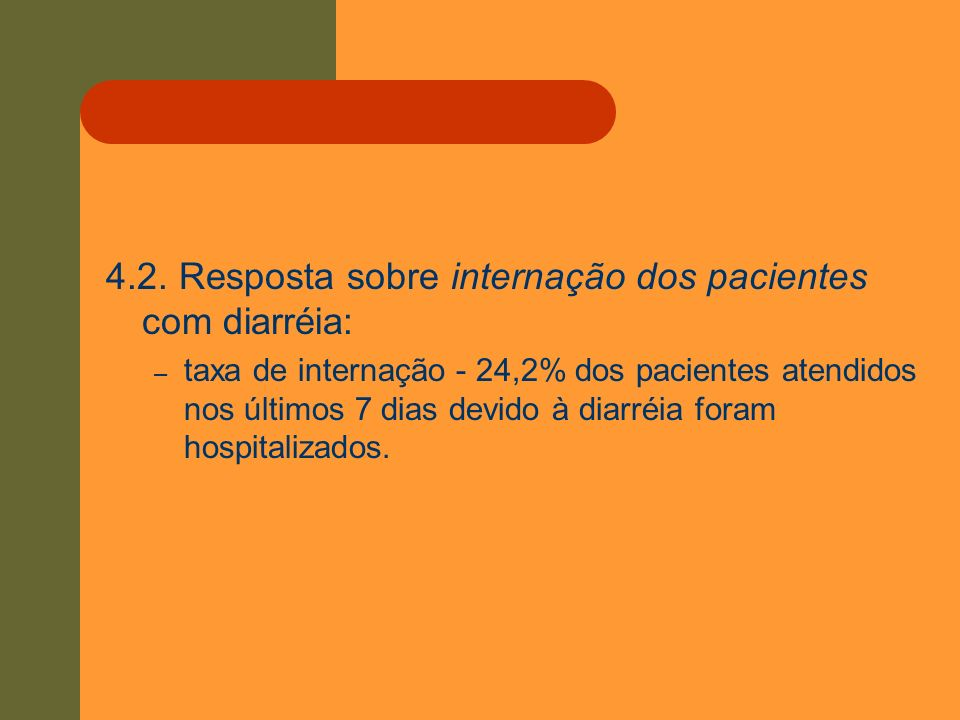 4.2. Resposta sobre internação dos pacientes com diarréia: