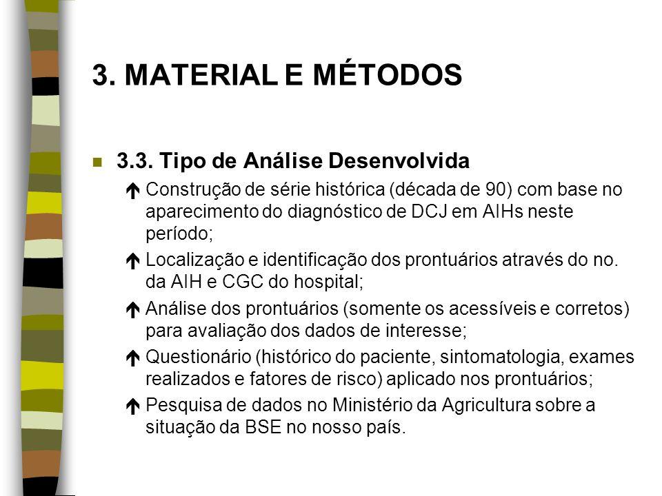 3. MATERIAL E MÉTODOS 3.3. Tipo de Análise Desenvolvida